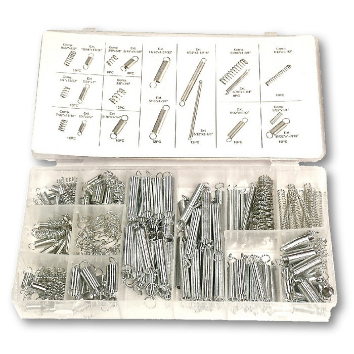 Assorted Zinc Plated Steel Compression and Extension Spring 200 Pc Kit