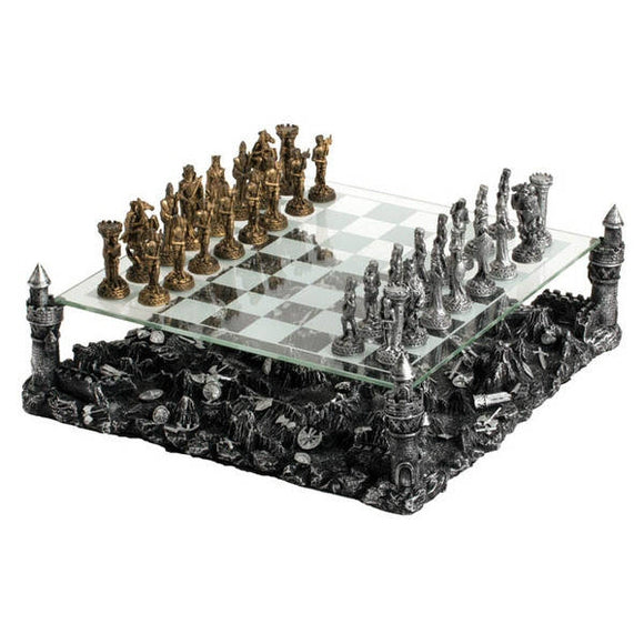 Deluxe Knights 3D Chess Set with Glass Chessboard and Pewter Chess Pieces