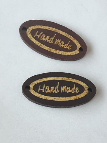 Étiquette Handmade En Bois - Dark brown wood label