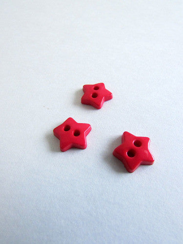 Bouton étoile rouge 1cm / Red star button 0,4''