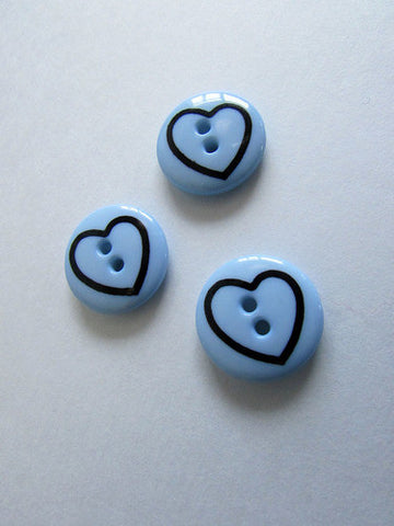 Bouton coeur bleu pâle 1,8cm  / Pale blue heart button 0,7''