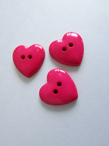 Bouton coeur rose 2,5cm  / Pink heart button 1''
