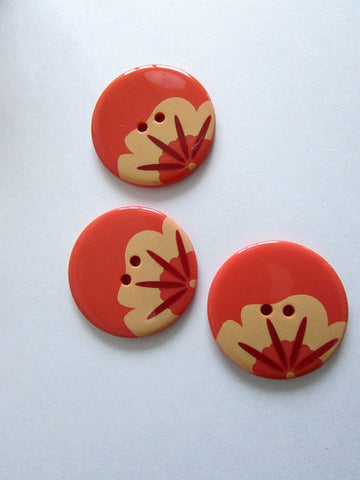 Boutons fleurs oranges 3,5cm / Orange flower pattern button 1,4''