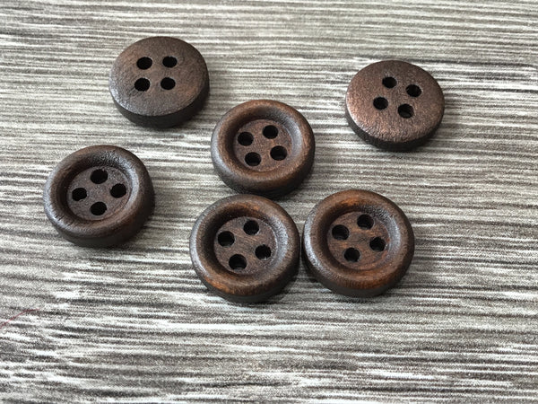 Mini bouton de bois brun foncé 1cm / tiny dark wood button 3/8""