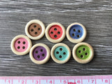 Bouton de bois naturel centre coloré 2.5cm / Colored center natural wood button 1''
