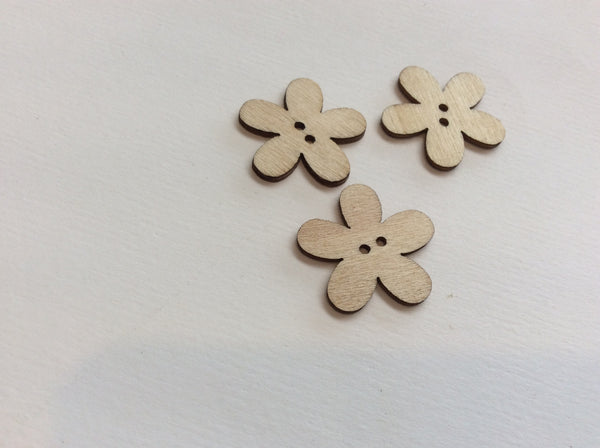 Boutons de bois fleur / Wood flower shaped button