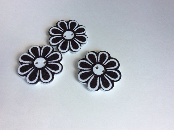 Gros bouton fleur noir et blanc 4 cm / big black and white flower Button 1.5""