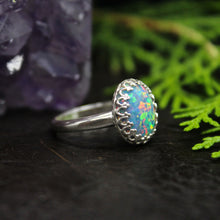 Load image into Gallery viewer, Aqua Aura Opal Sterling Silver Ring