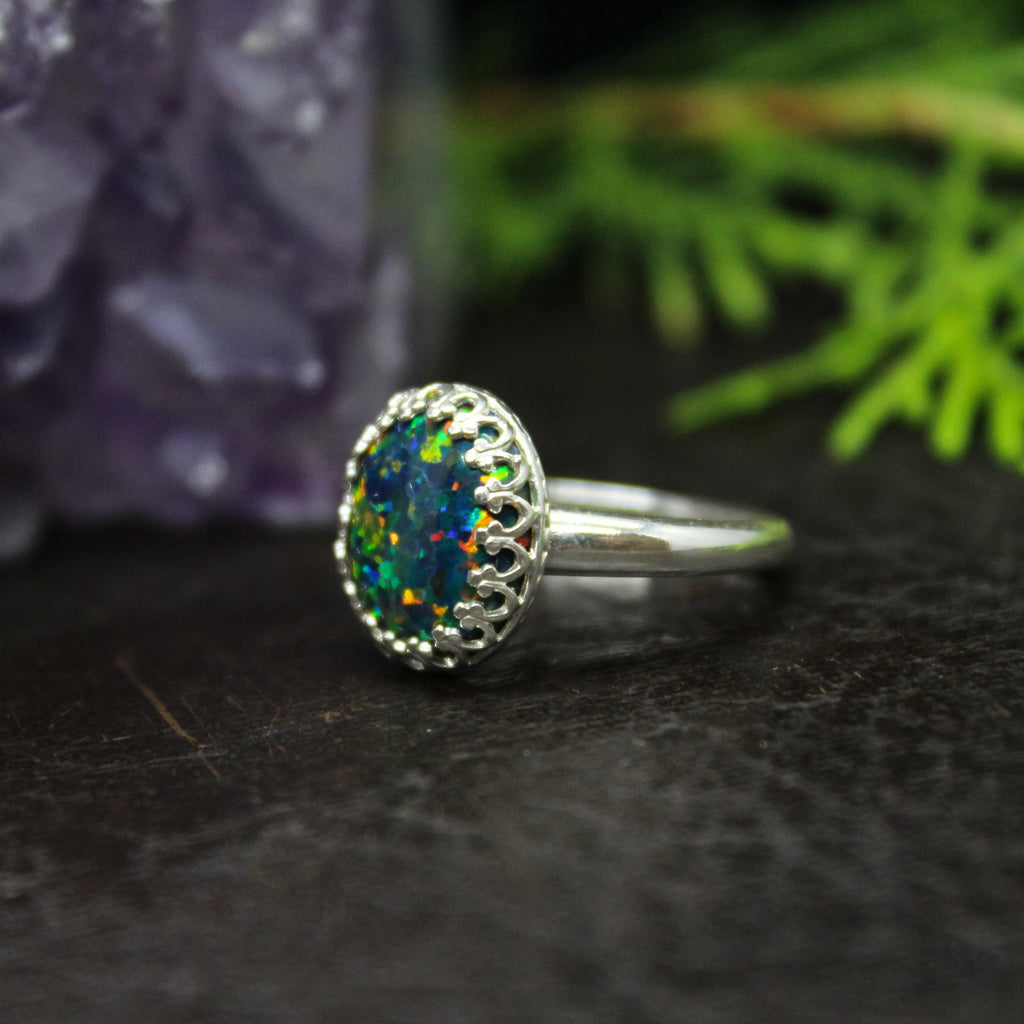 Rainforest Aura Opal Sterling Silver Ring