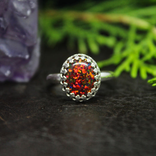 Fire Aura Opal Sterling Silver Ring