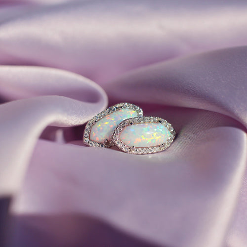 Iridescent Aura Opal Earrings