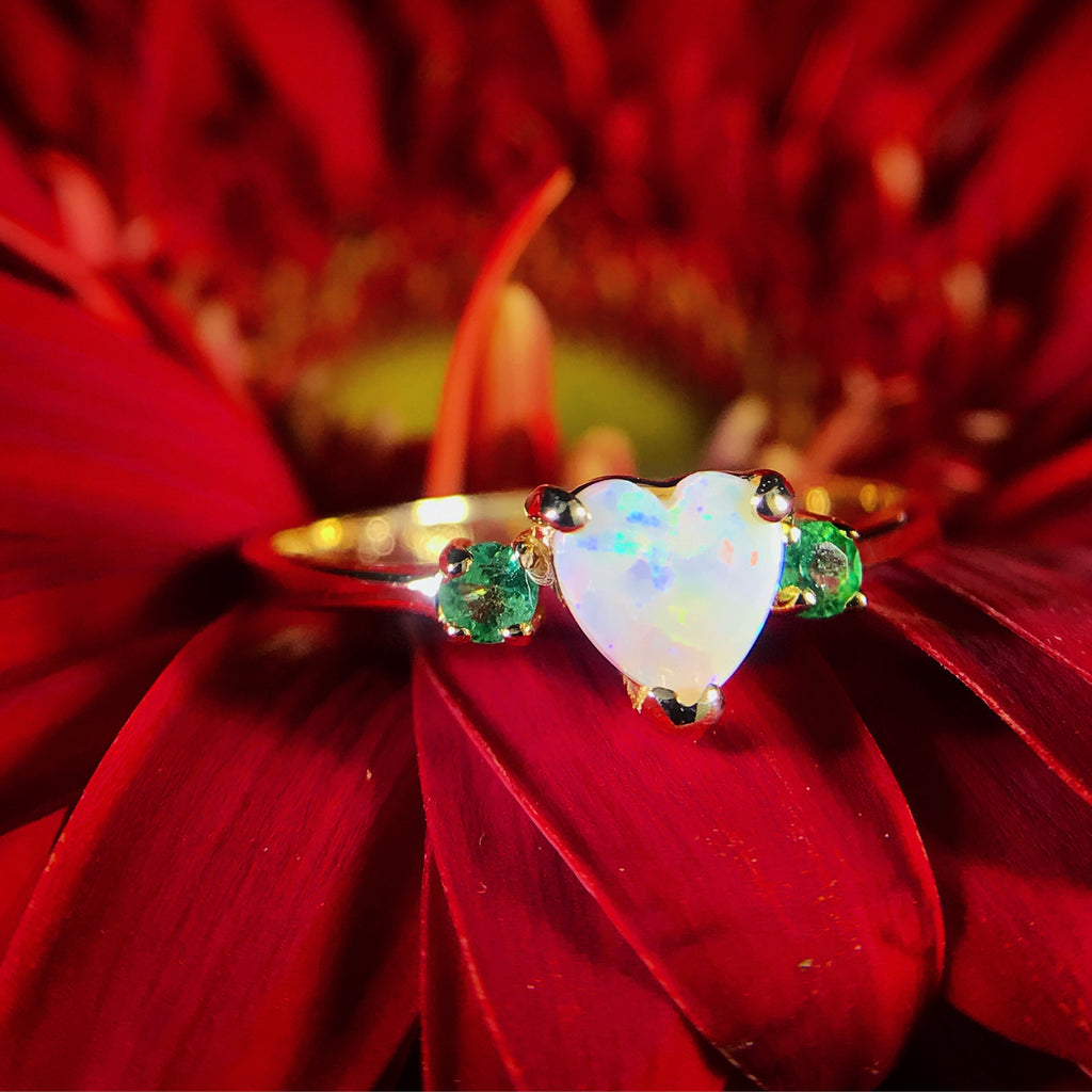14k Gold Opal & Emerald Ring