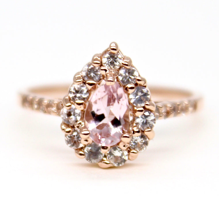 14k Rose Gold & Morganite Halo Ring