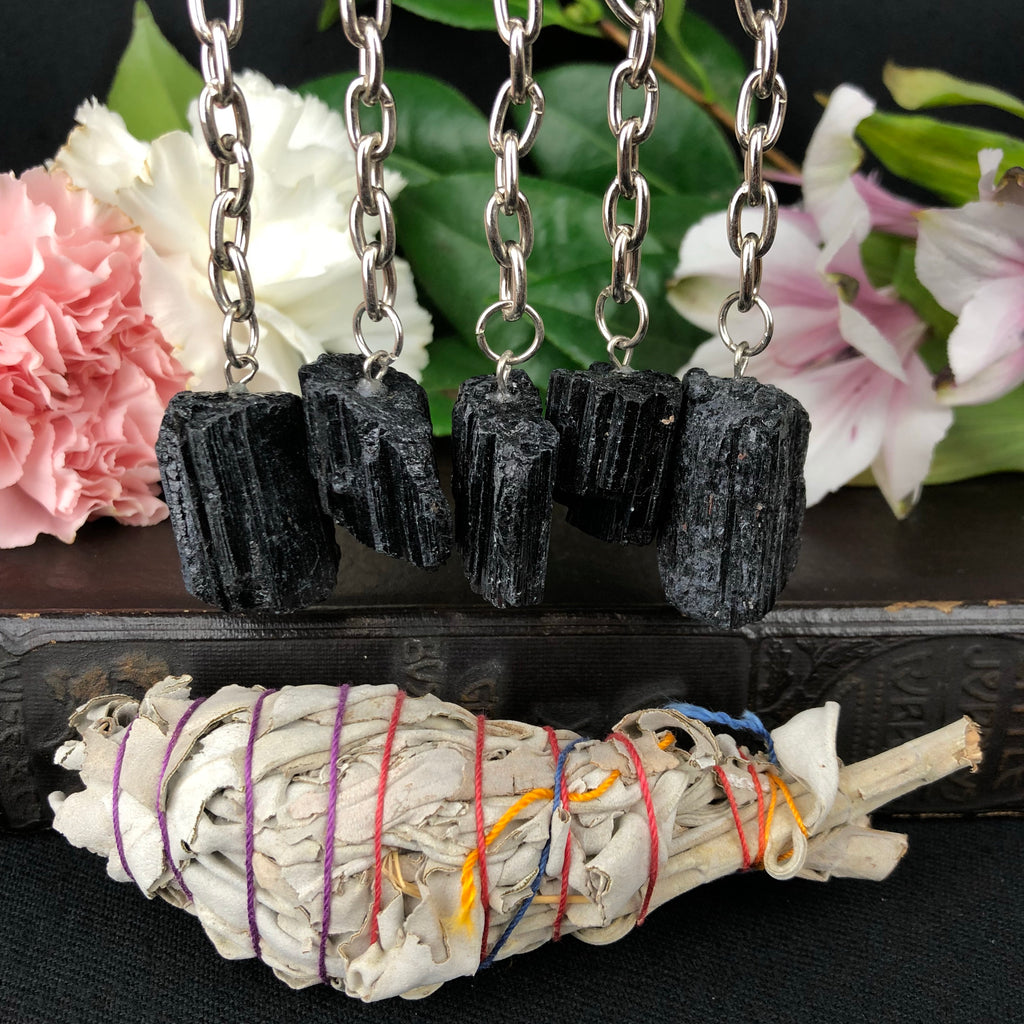Black Tourmaline Key Chain W/ Sage Bundle