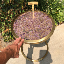 Load image into Gallery viewer, Amethyst & Pyrite Gold Table