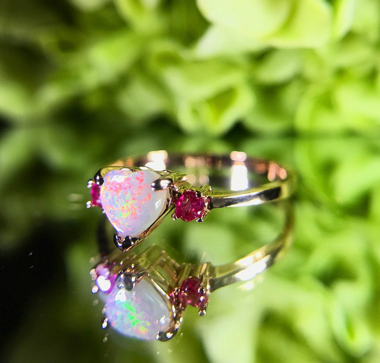 14k Gold Opal & Ruby Ring