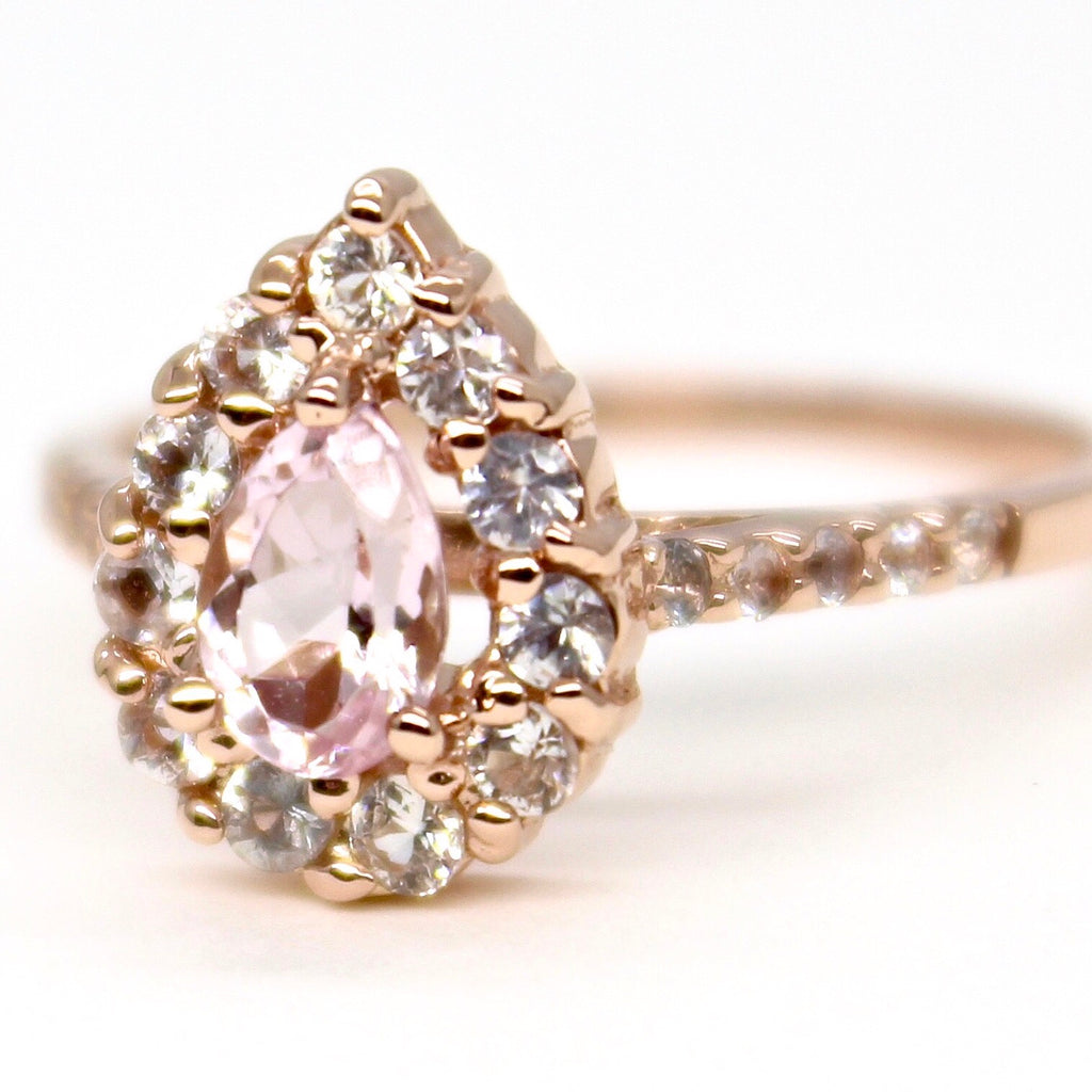 14k Rose Gold Morganite & White Sapphire Halo Ring