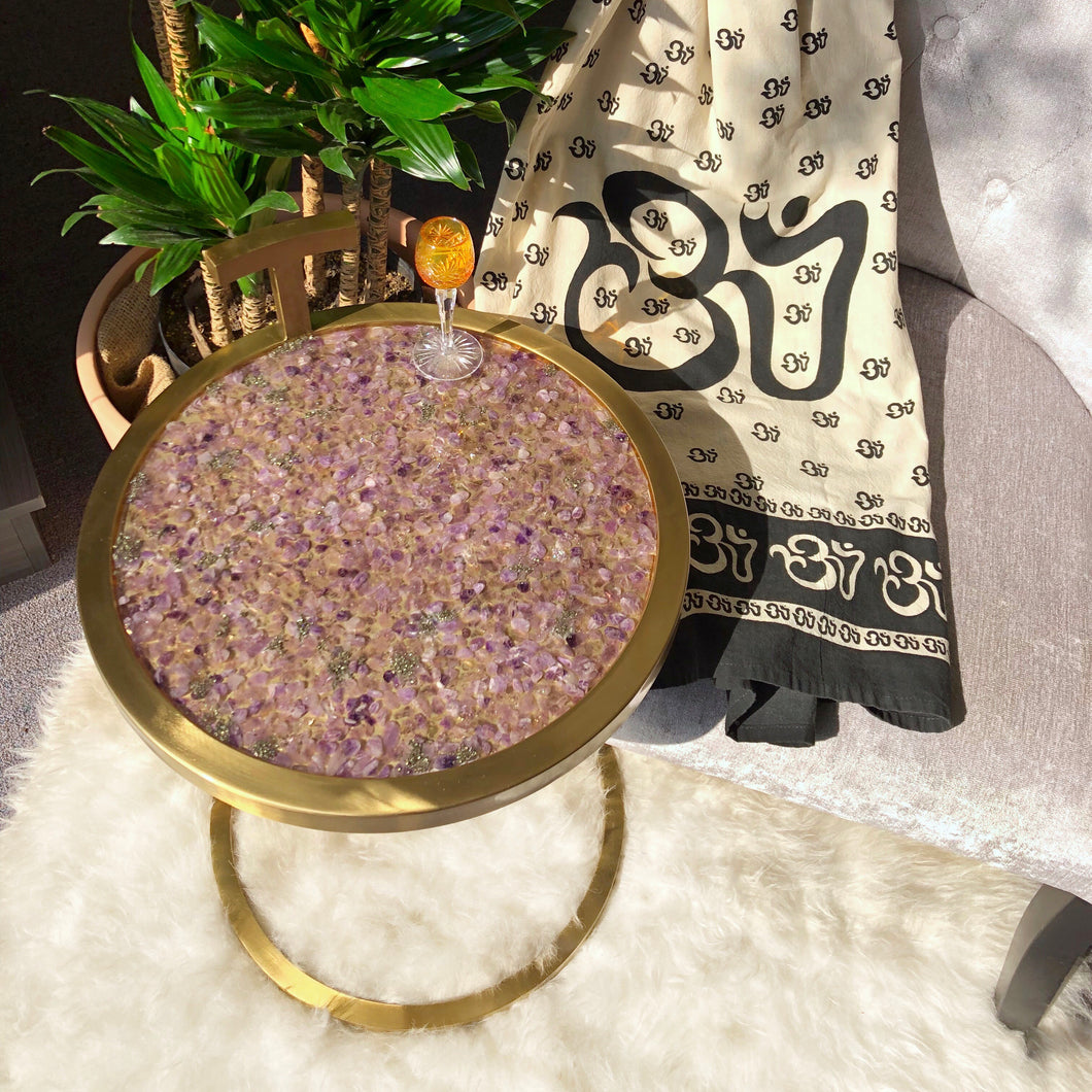 Amethyst & Pyrite Gold Table