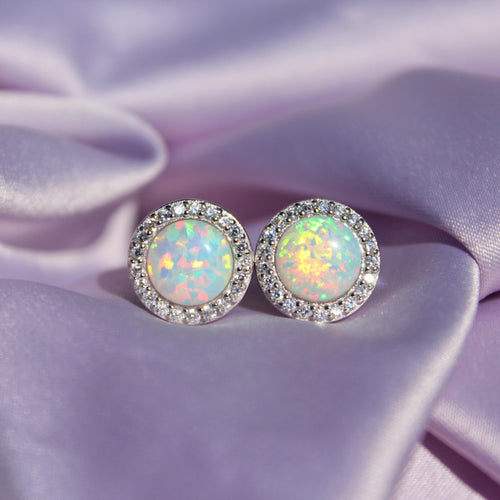 Iridescent Aura Opal Round Earrings