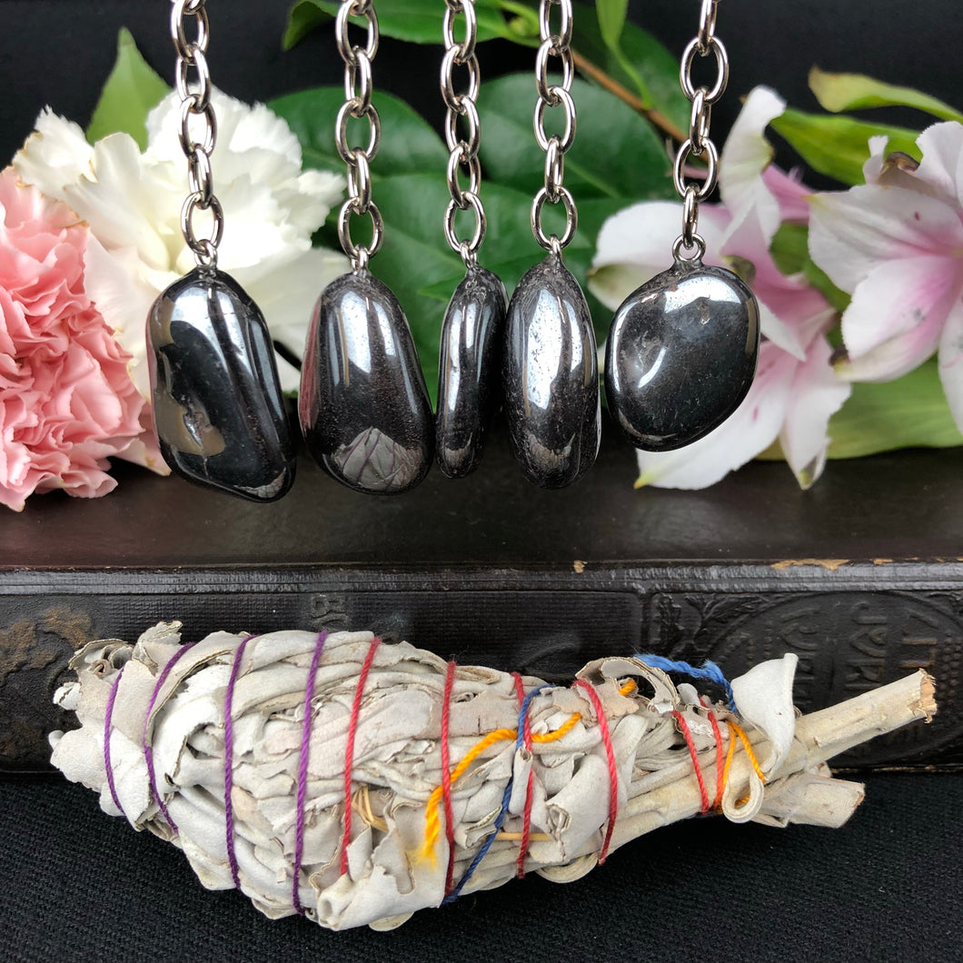 Hematite Key Chain W/ Sage Bundle
