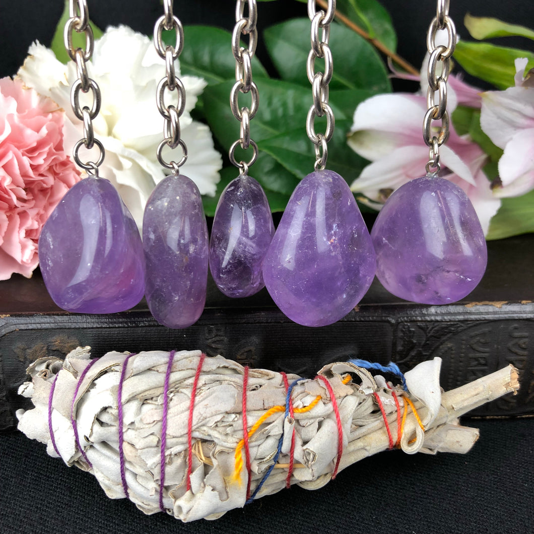 Amethyst Key Chain W/ Sage Bundle
