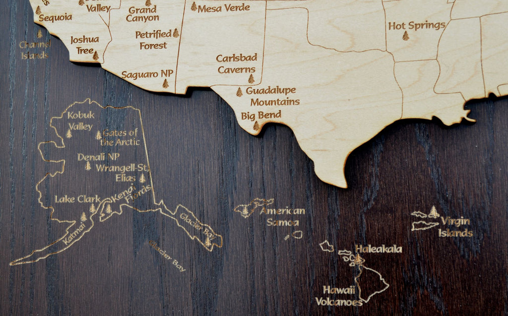 National Parks of the US Wood Map