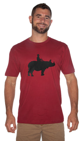 """Cowboy On A Rhino"" Man Tee"