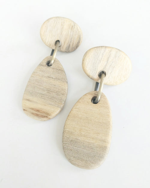 Evan Earring || Hand Carved Haitian Wood