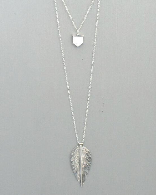 Avery Silver Necklace || Double Pendant