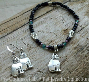 Fat Cat and Owl Bracelet and Earrings Set