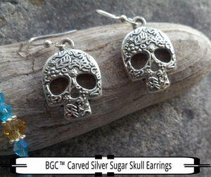 Carved Silver Sugar Skull Earrings