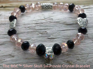 Pink Blush and Black Jet Swarovski Crystal Silver Skull Bracelet