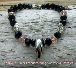 Pink Blush and Black Jet Swarovski Crystal Silver Freedom Wing Bracelet