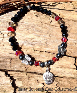 Black and Red Swarovski Crystal with Skull Charm Bracelet