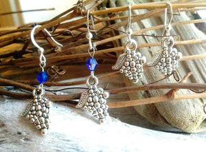 Mini Silver Grape Cluster Earrings