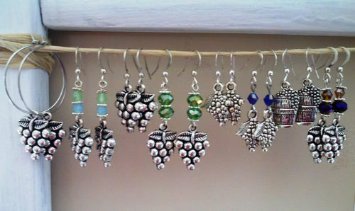 Silver Grape Cluster Earrings
