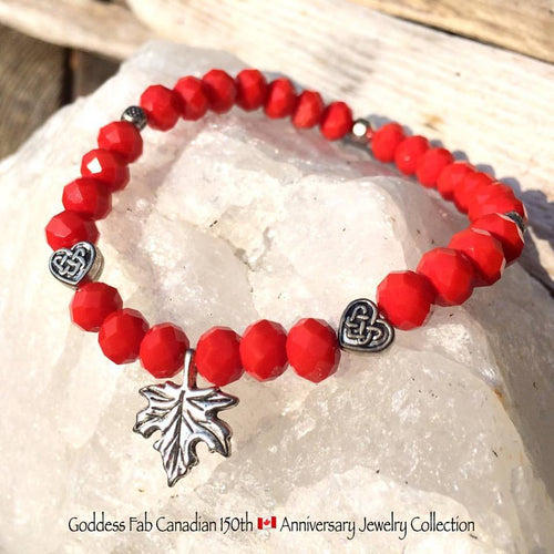 Silver Maple Leaf and Celtic Hearts Bracelet