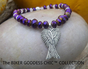 Purple Swarovski Silver Guardian Angel Wings Bracelet