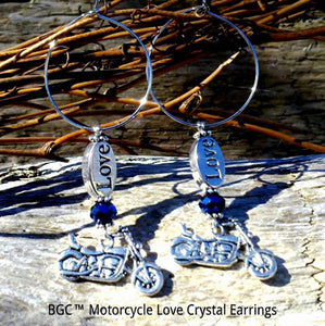 Silver Motorcycle with Swarovski Crystal and Silver Love Charm Earrings