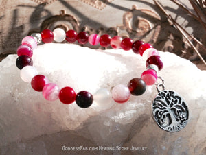 Rose Agate Wisdom Tree of Life Bracelet