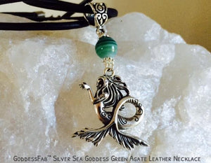 Silver Sea Goddess with Banded Green Agate on Leather Necklace