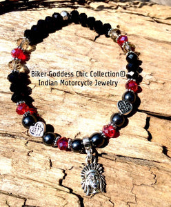 Black & Red Swarovski Crystal Bracelet with Silver Indian Head Charm