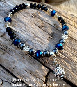 Swarovski Crystal Hematite Bracelet with Silver Indian Head