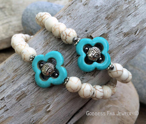 Bone Howlite Mini Silver Buddhas in Carved Turquoise Bracelet