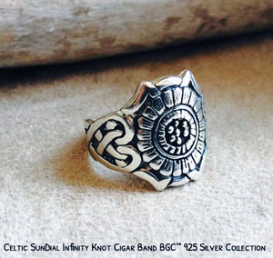 925 Silver Celtic Sun Dial Cigar Band Ring