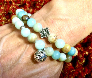 Amazonite Silver Chinese Lucky Flower Ball Bracelet