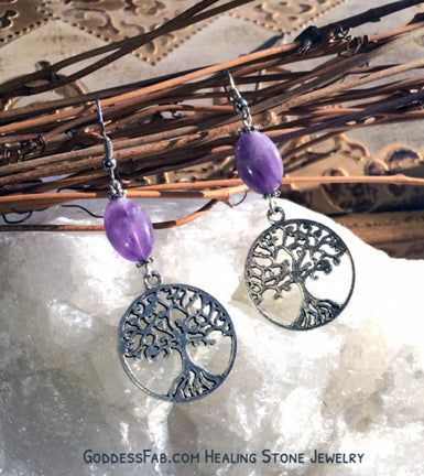 Amethyst Celtic Tree of Life Earrings