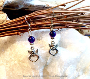 Amethyst Angel Heart Earrings