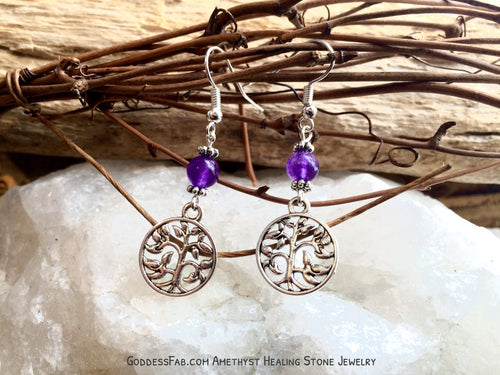Amethyst Family Love Tree of Life Earrings