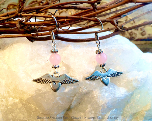 Rose Quartz Winged Heart Earrings